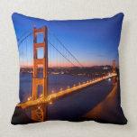 Dawn over San Francisco and Golden Gate Bridge. Throw Pillows