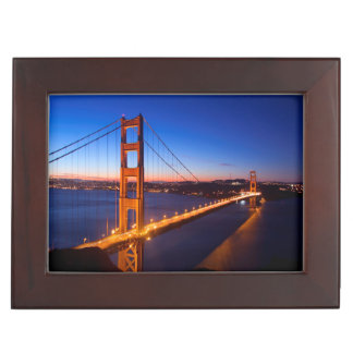 Dawn over San Francisco and Golden Gate Bridge Memory Boxes