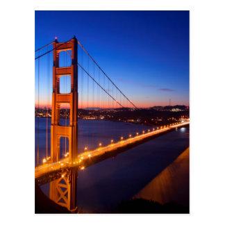 Dawn over San Francisco and Golden Gate Bridge. Postcard
