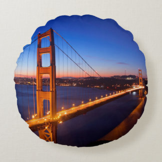 Dawn over San Francisco and Golden Gate Bridge. Round Pillow
