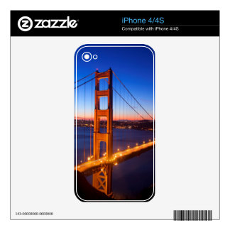 Dawn over San Francisco and Golden Gate Bridge. Skin For iPhone 4