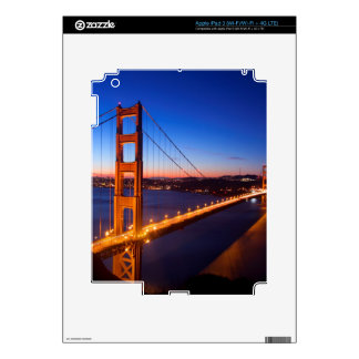 Dawn over San Francisco and Golden Gate Bridge. Skins For iPad 3