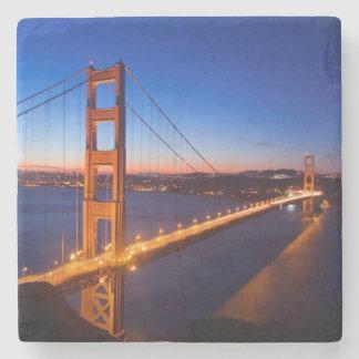 Dawn over San Francisco and Golden Gate Bridge. Stone Coaster