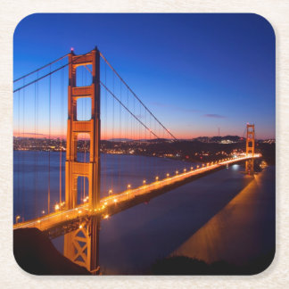 Dawn over San Francisco and Golden Gate Bridge. Square Paper Coaster