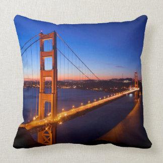 Dawn over San Francisco and Golden Gate Bridge. Throw Pillow