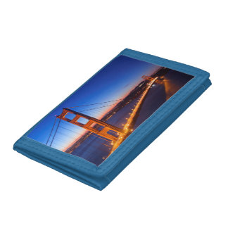 Dawn over San Francisco and Golden Gate Bridge. Tri-fold Wallet