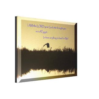 Dawn Scripture Egret Wrapped Canvas Print