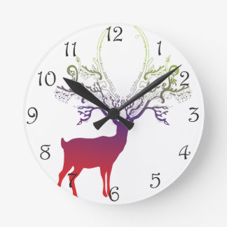 Dawn Silhouette Deer Round Clock