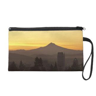Dawn sky over Portland and Mt. Hood, Oregon Wristlet Purse
