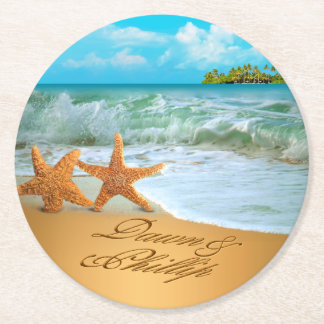 Dawn Starfish Couple ASK 4 YOUR NAMES IN SAND Round Paper Coaster