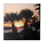 DAWN: Sunrise, through palm trees Ceramic Tiles