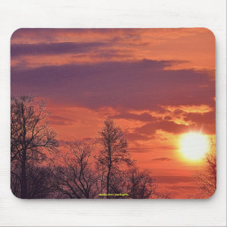 Dawn Sunrise & Trees in Silhouette Nature Art Mouse Pad