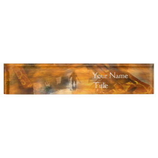 DAWNING DARK/ ALIEN WORLDS Science Fiction,Sci-Fi Desk Name Plate