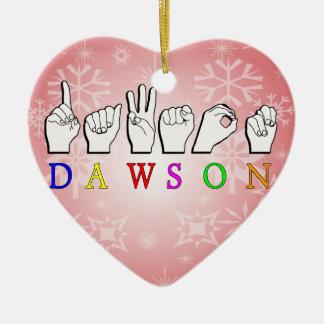 DAWSON  ASL FINGER SPELLED Double-Sided HEART CERAMIC CHRISTMAS ORNAMENT