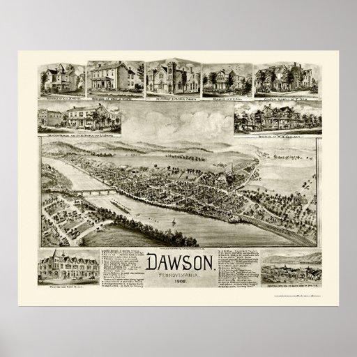 Dawson, mapa panorámico del PA - 1902 Póster