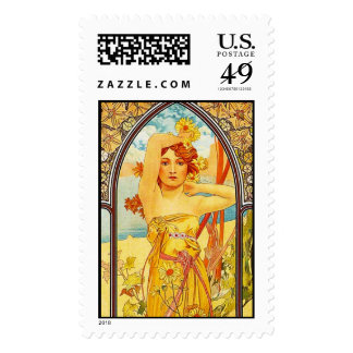 Day, Alphonse Mucha - Postage Stamp