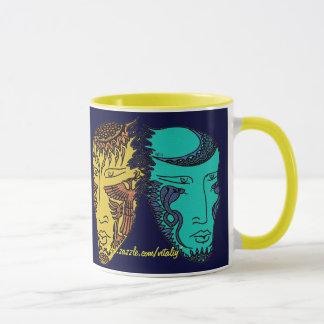 Day and night abstract graphic art mug design