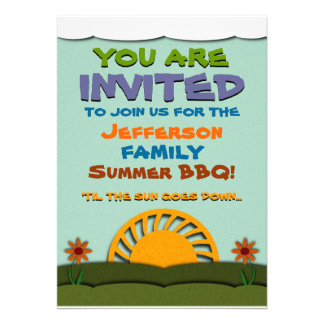 Day and Night Summer BBQ / Reunion Invitations