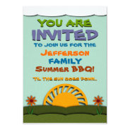 Day and Night Summer BBQ / Reunion Invitations at Zazzle