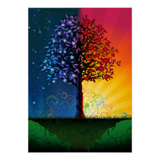 Day And Night Tree Poster