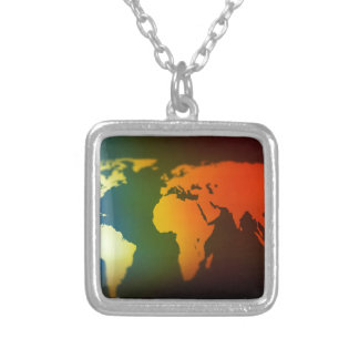 Day and night world map silver plated necklace