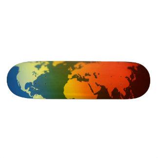 Day and night world map skateboard