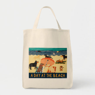 Day at beach- Tote Bag-Stephen Huneck
