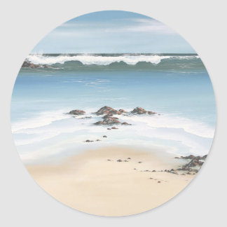 day at the beach classic round sticker