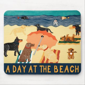 Day at the Beach Mousepad - Stephen Huneck mousepad