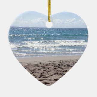 Day At The Beach Double-Sided Heart Ceramic Christmas Ornament