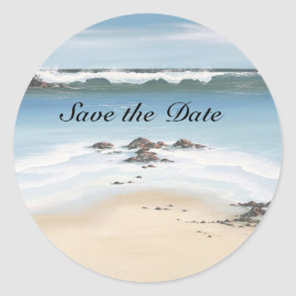 day at the beach Save the Date Classic Round Sticker
