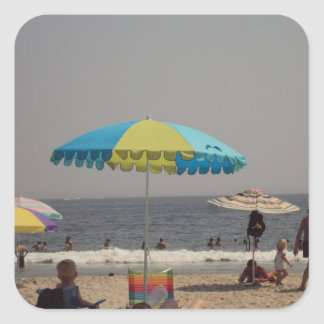 Day At The Beach Square Sticker