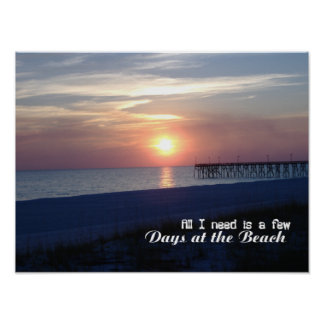 Day at the Beach Sunset Poster