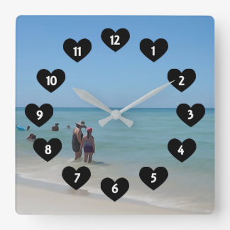 Day At The Beach With Heart Wall Clock