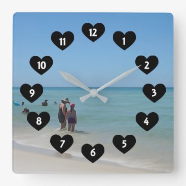 Beach Themed Day At The Beach With Heart Wall Clock