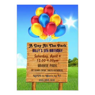 Day at the Park Birthday Party Invitations