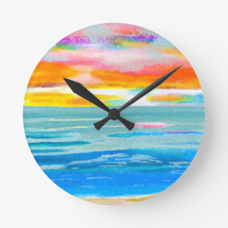 Day Breezes Sunrise Beach Surf Ocean Sunset Round Clock