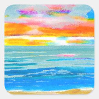 Day Breezes Sunrise Beach Surf Ocean Sunset Square Sticker