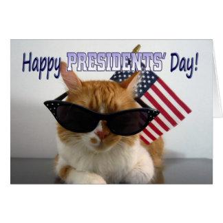 Day Cool Cat de presidentes felices con la bandera Tarjeta De Felicitación