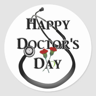 Day del doctor feliz etiqueta redonda