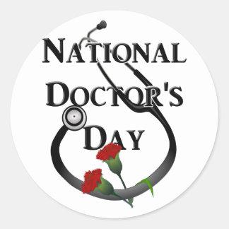 Day del doctor nacional pegatina redonda