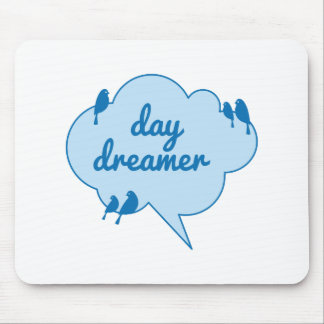 Day dreamer, birds on blue cloud design mouse pad