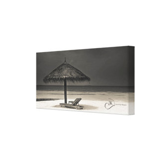 Day dreamer - sun lounge by the sea: Maldives Canvas Print