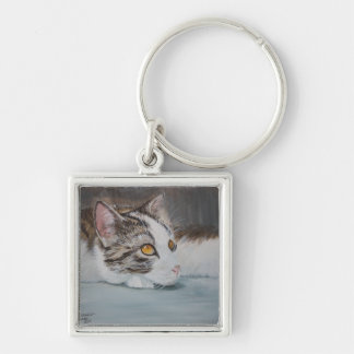 Day Dreamin' Silver-Colored Square Keychain