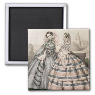 Day Dress for 1858, engraved by Barreau 2 Inch Square Magnet