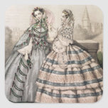 Day Dress for 1858, engraved by Barreau Square Sticker