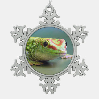 Day Gecko Snowflake Pewter Christmas Ornament