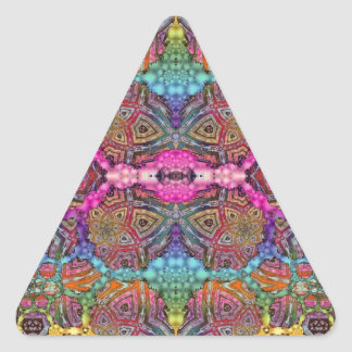 Day-Glo Pattern Drench Triangle Sticker