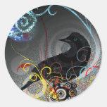 Day Glo Raven Round Stickers