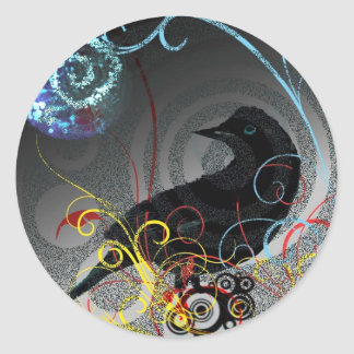 Day Glo Raven Round Stickers